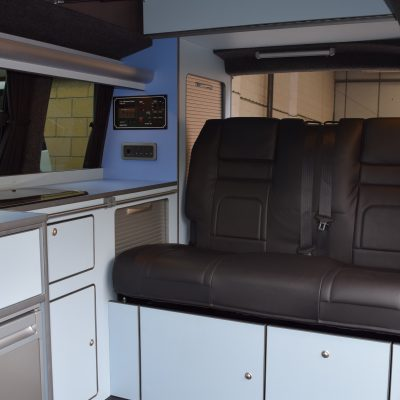 T5 SWB conversion, RIB bed in black leather, Two tone blue units