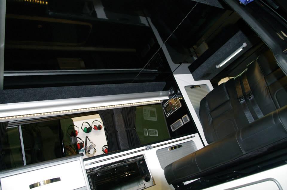 Underside of elevating roof in Superva black gloss furniture board